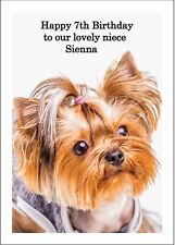 A5 New Personalised Yorkshire Terrier Birthday Card Any Occasion Dog Puppy Cute