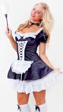 Womens Sexy French Maid Halloween Ladies Fancy Dress Costume Size 8 - 10