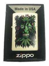 Zippo Custom Lighter Stoner Weed Leaf & Mushroom Face Pot Marijuana Design NEW