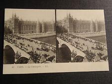 CARTE POSTALE STEREO CARTE 1900 PARIS LA CONCIERGERIE