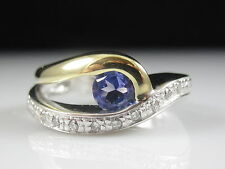 18K Tanzanite Diamond Ring White Yellow Fine Jewelry Purple Genuine Size 6
