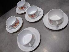 lot de 5 grandes tasse et soucoupe arcopal vintage déco fleur