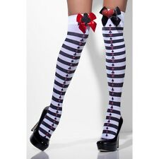 Women's Alice In Wonderland Fancy Dress Opaque Hold-Ups Striped & Bows Hen Fun