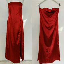 Select Women's Dress Gown Long Red Satin Slit Leg Sleevless Party Xmas Plus 18