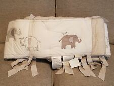 Pottery Barn Kids Taylor Dot Stripe Elephant White/Gray baby Crib Bumper display
