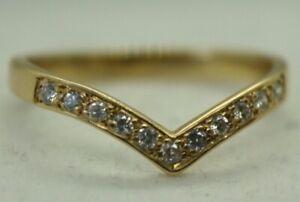 100% Genuine 18k Solid Yellow Gold 0.055ct Diamond Eternity Wishbone Ring Sz4.75