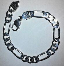 """Mens Bracelet Sterling Silver 925 Figaro Link 8.2 MM 8.5"""" 21 Grams Lobster Clasp"""