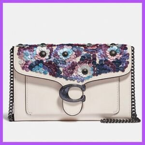 ❤️Coach Tabby Chain Clutch With Leather Sequins $325