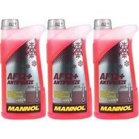 3x1 Liter MANNOL Kühlerfrostschutz Typ G12+ Antifreeze Kühlmittel -40°C rot rosa