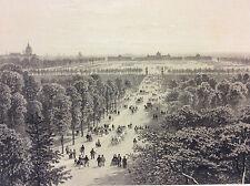 Grande estampe de Paris Champ de Mars et Ecole Militaire en 1866 superbe