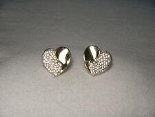 14k Yellow Gold Pave Diamond Heart Earrings