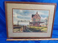Ranulph Bye VTG Watercolor Litho Print Weston Manville Railroad Stations Signed
