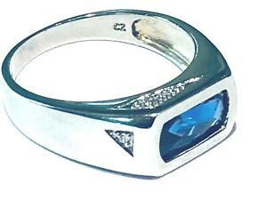 Men's 925 Sterling Silver Blue Cubic Zirconia Signet Ring Size U 1/2