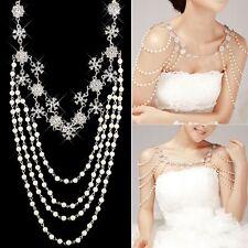 Wedding Bridal Crystal Rhinestone Pearl Shoulder Body Chain Necklace Jewelry New