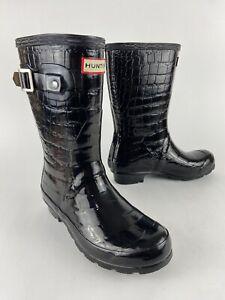 Hunter Original Tall Black Alligator Print Boot W23499 Uk4 US 5M/6F EU37 -Great!