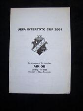 ORIG. PRG UEFA Intertoto Cup 2001/02 AIK STOCKHOLM-Odense BK!!! RARO