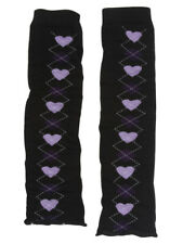 Women's Stretch Leg Warmers Argyle Lilac Hearts and Diamonds