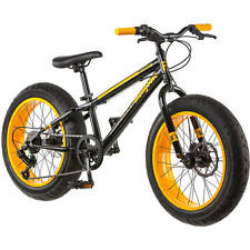 "NEW 20"" Mongoose Massif Boys 7 Speed Fat Tire Mountain Bike Yellow/Black"