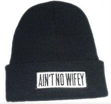 Hip Hop AINT NO WIFEY Men's Beanies Unisex Winter Acrylic knit Black cap Hat 1#