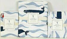 New Pottery Barn Kids Organic Nautical Whale Full/Queen Duvet Cover & Shams