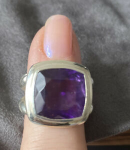 Gorgeous Sterling Silver Ring with Large Amethyst Gemstone Size 6.5