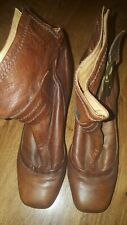 Steve Madden Brown Leather Ankle boot size 39 heels square toe strap buckle rock