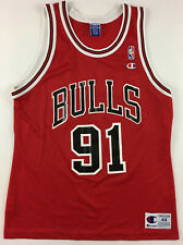Chicago Bulls #91 Dennis Rodman basketball red shirt jersey NBA 1990s vintage 44