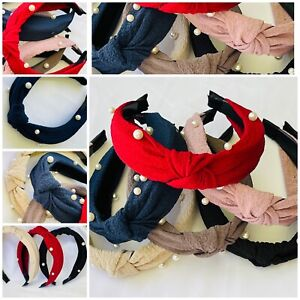 6-Wide Turban Headbands Women Hard Top Bow Cross Knotted Hairband GIFT PACK