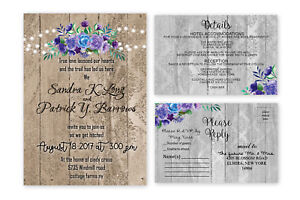 Rustic Wedding Invitations Purple Personalized Boho Country Floral Set of 50