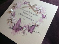 Personalised Handmade Christmas Card,purple butterfly,Mum,wife,daughter,name Etc