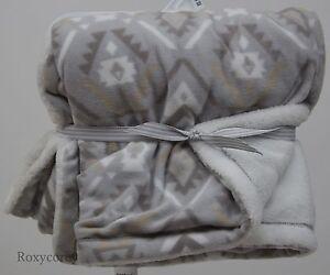 Carter's Gray White Brown Geo Print Fleece Baby Blanket 28x30 NWT