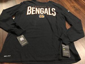 New Nike Cincinnati Bengals NFL Football Dri-fit Shirt Size XL Black Orange