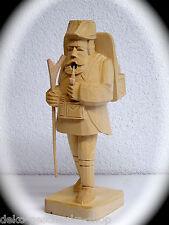 19cm Tallado Fumador FIGURA MADERA Wanderer con STOCK de madera 40354