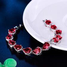 Charm Bling White Gold Filled Red Garnet Beaded Crystal Promise Chain Bracelet
