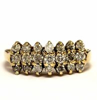10k yellow gold .84ct SI3 H diamond wedding anniversary ring band 3.3g