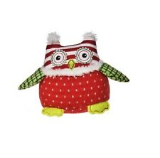 Mary Meyer Owl Mini Red White Dot Green Plaid Bird Holiday Patchwork Stuffed NEW