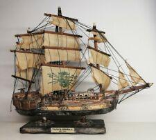Ancien bateau de décoration frégate espagnole 1780 Vintage H 30 Cm XXème
