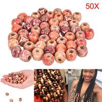 50pcs Dreadlock Beads Wooden Hair Braiding Tube Rings Extension Accessories WT