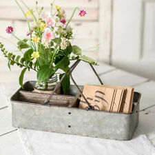 Ava new Divided Stationary Caddy with Handles in distressed Tin
