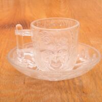 Vintage Clear Glass Face Pattern Cup and Saucer