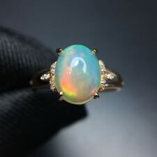 1.62ct Oval Shaped Natural Australian Solid Opal Ring 4 Prong in 14K Yellow Gold