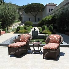 Premium Outdoor Resin Wicker Chaise Lounge 3 Piece Set (Cushions made in USA)