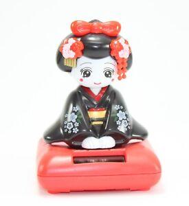 Solar Bobblehead Toy Figure, Maiko - Sitting Black Geisha Office Home Decoration