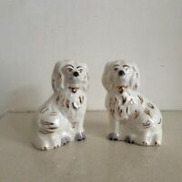 Vintage Royal Doulton Miniature Flat Back Mantle Piece Wally Dogs in Cream