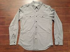 NWOT AMERICAN EAGLE Grey (gray) 100% Cotton Military Style Shirt - M
