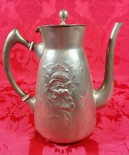 Fine Antique KAYSERZINN German Pewter 4189 Tall Coffee Tea Pot Floral Relief 8""