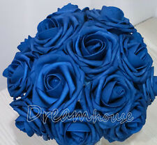 """50 Real Touch Rose Wedding Bridal Bouquet Silk Flowers Home Decor 3"""" Royal Blue"""