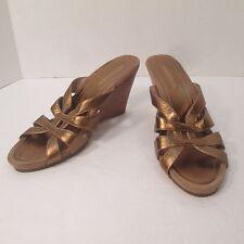 Aerosoles Wedge Sandals Bronze 8 NEW Metallic Heels Strappy Stacked Heel Slides