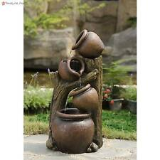 Large 33' Outdoor Water Fountain Garden Decor Cascading Distressed Brown Pot