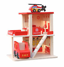 Wooden Fire Station Parking Lot Garage Pretend Play Toy